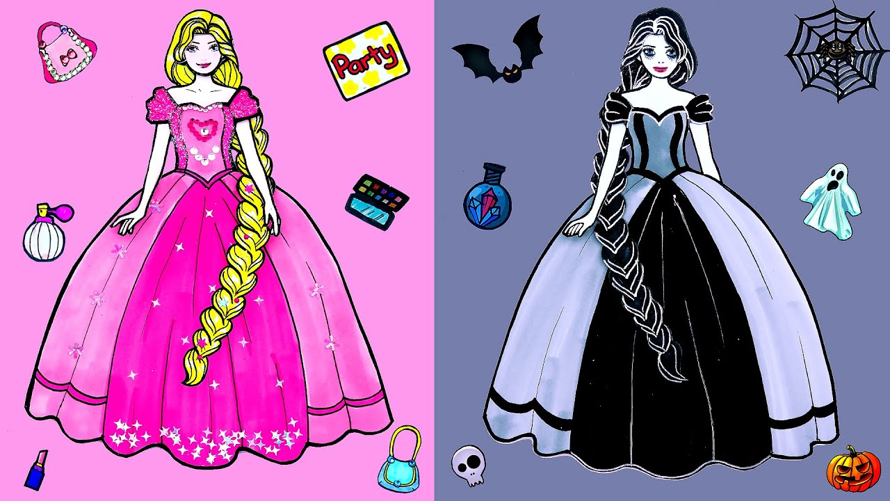 Paper Dolls Dress Up - Sadako and Rapunzel Dresses Handmade Quiet Book - Barbie Story & Crafts