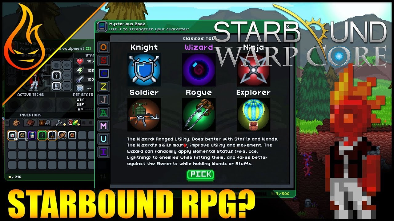 RPG Growth Bonuses And Epic Guns Starbound Warp Core Ep2