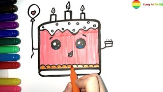 Cake coloring drawing and animation | Learn Colors