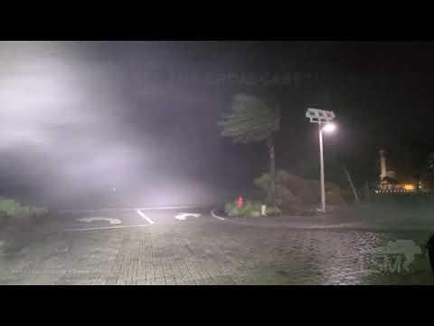 9-16-2020 Orange Beach, Al- Hurricane Sally insane winds in the eyewall, debris hitting car