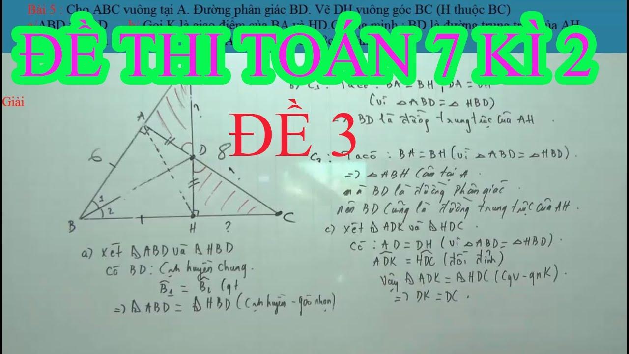Toán 7 – Đề Ôn Thi Toán 7 kì 2 ( Đề 3 )