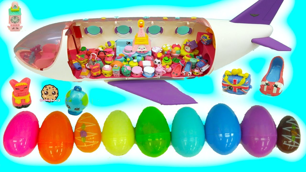 World Vacation Season 8 Shopkins Inside Surprise Eggs Board Airplane – Toy Video