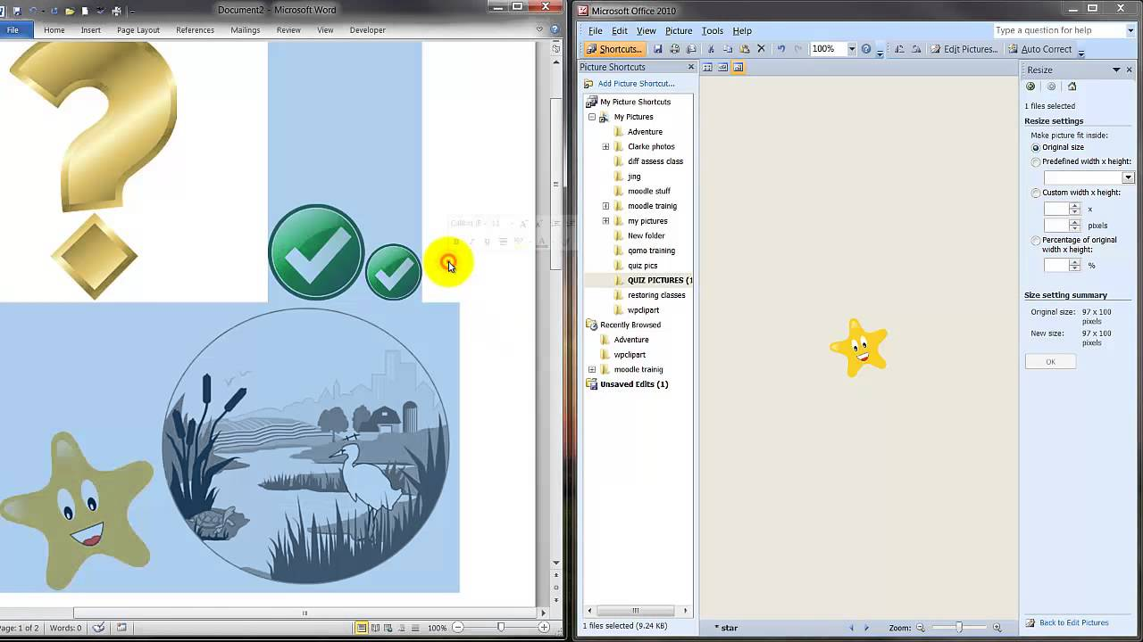 Preparing & Adding Pictures for Word Template-Moodle Import - YouTube