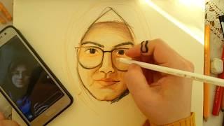 kuru boya portre çalışması /  how to draw a dry paint portrait?