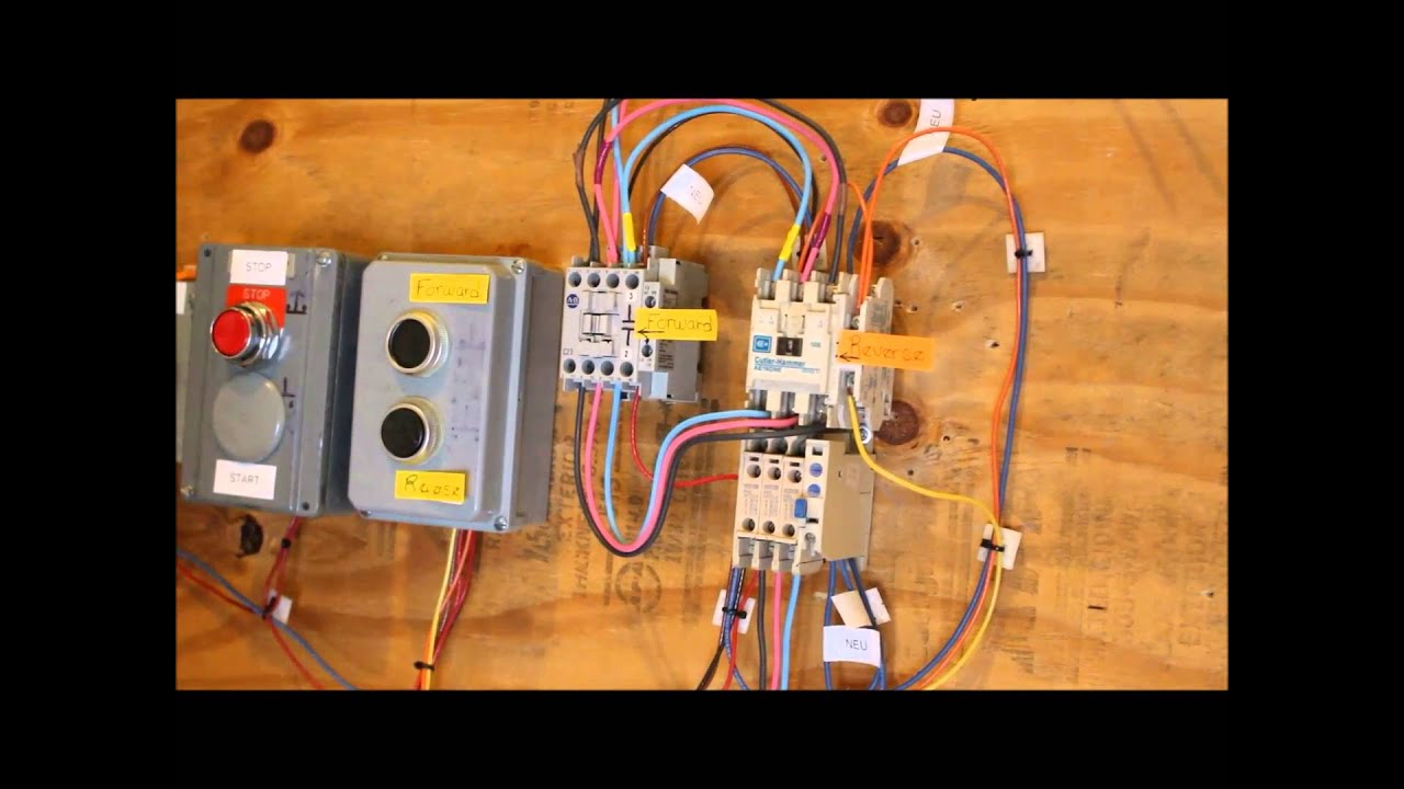 hands on motor controls forward reverse interlocking by pushbutton [ 1280 x 720 Pixel ]
