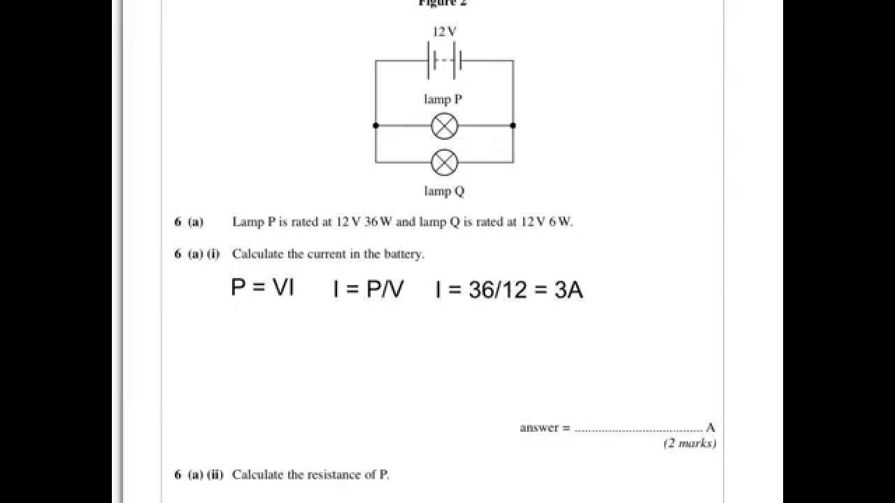 Aqa Physics A Level June 12 Paper 1 Q6 Lamps In Series