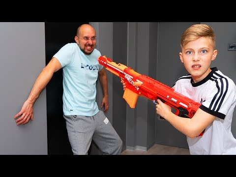 Гро VS папа...  Nerf RESTART.  Dad Against...