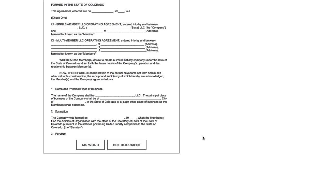 Free colorado llc operating agreement template pdf for Free llc operating agreement