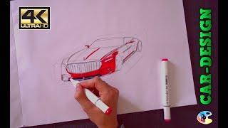 Mercedes Maybach 6 Vision Cabrio sketching + Marker Rendering - Drawing the Maybach Vision 6 [4K]