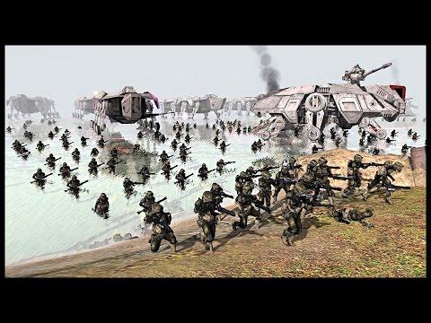 Amphibious Clone Assault - Battle of Kashyyyk | Men of War Assault Squad 2 Star Wars Mod Gameplay