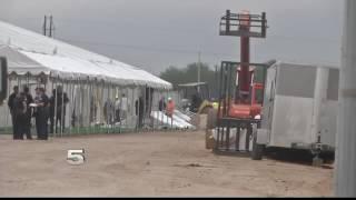 Crews Finishing Tent City Near Donna International Bridge