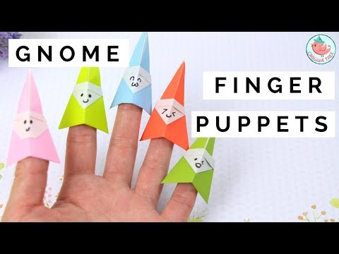 How to Fold an Origami Gnome Finger Puppet - Paper Finger Puppets Paper Crafts