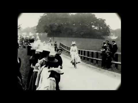 June 1899 Victorian Time Machine - Ladies Cycling Display in London (Restored Film)