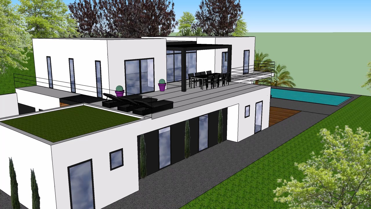 Plans 3d maison contemporaine youtube - Toit de maison dessin ...