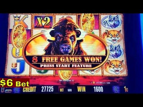 BUFFALO GOLD $6 Max Bet Bonus w/ReTrigger & BIG WIN Line Hits ! Live Aristocrat Slot Play