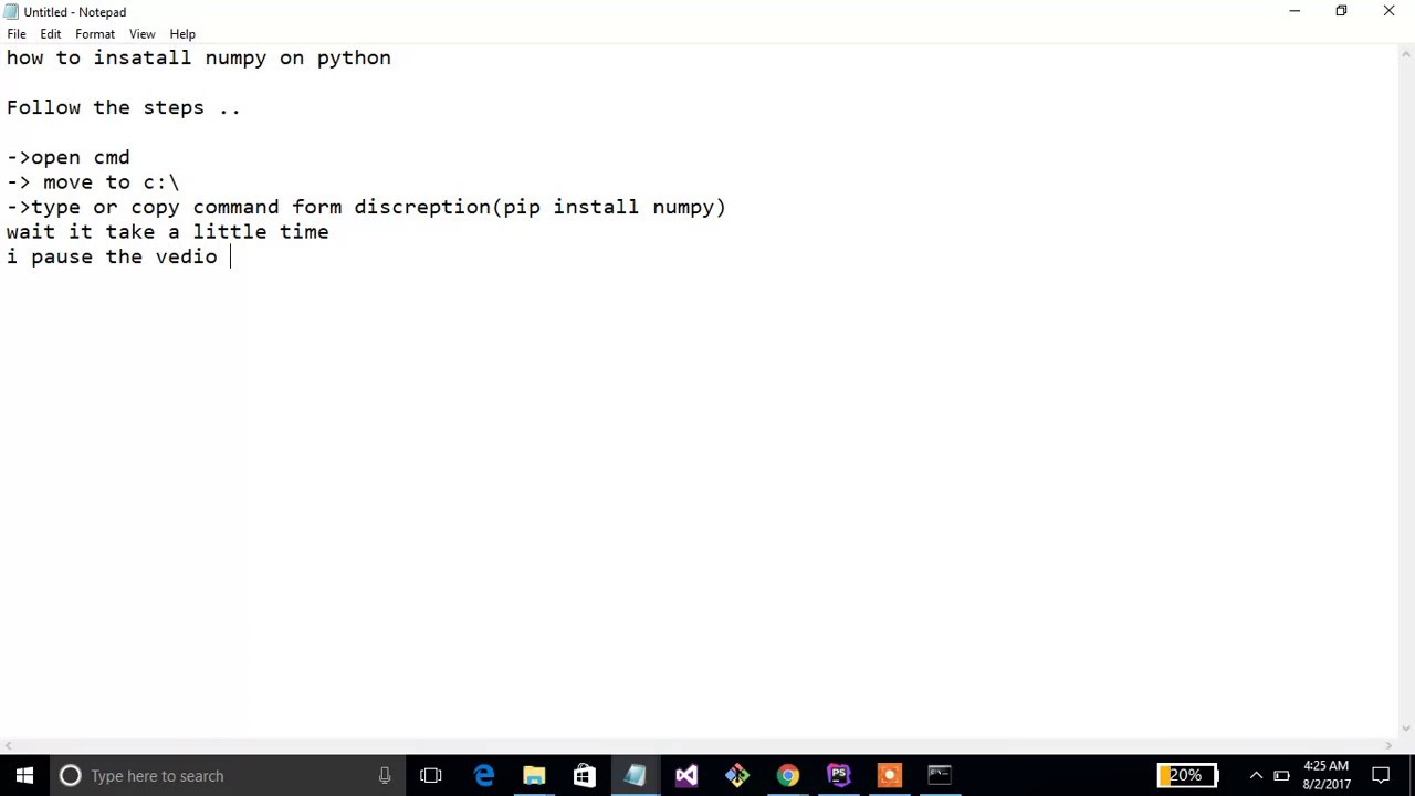 how to install numpy on python on windows 10