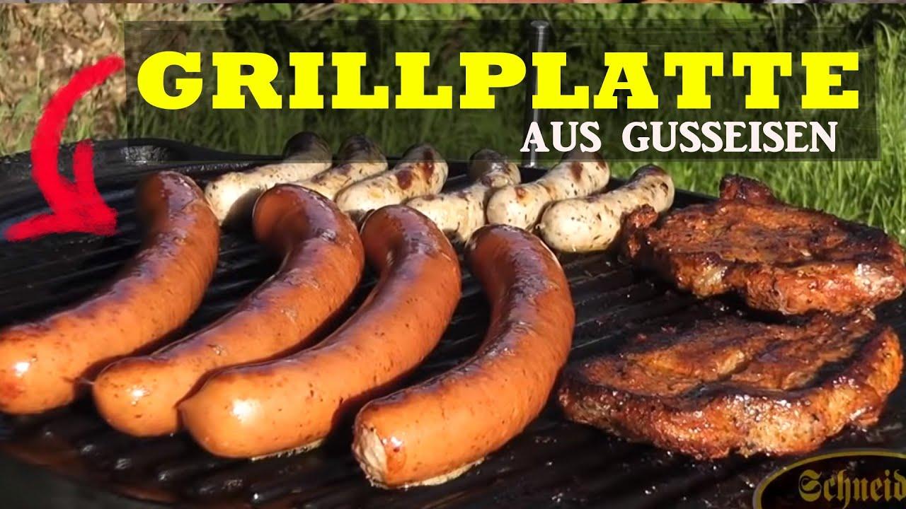 Landmann Gasgrill Einbrennen : Grillplatte aus gusseisen youtube