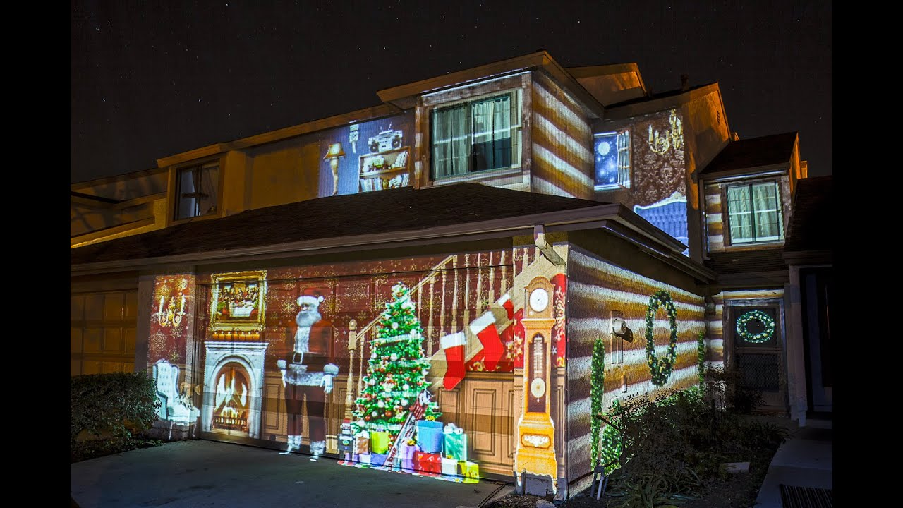 Projected lights on house