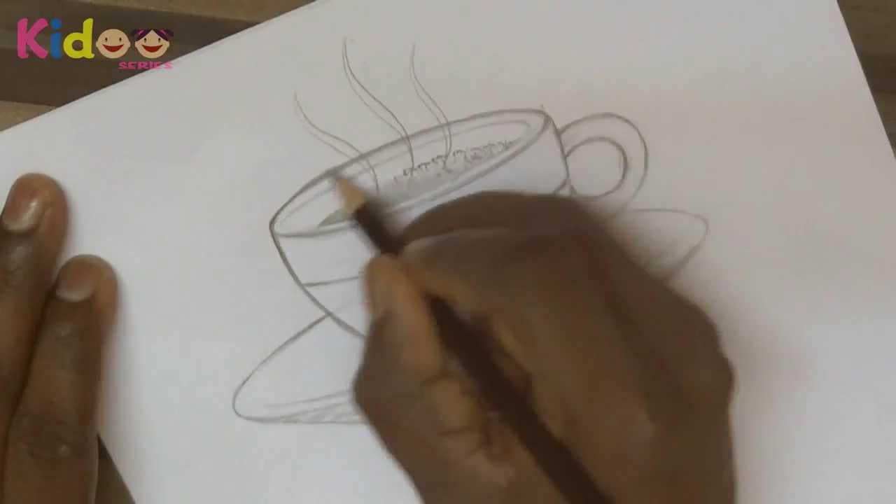 Learn to draw hot tea cup saucer with pencil