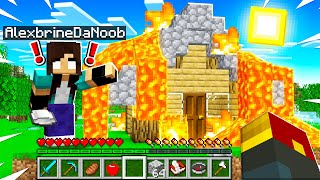 noob Girl accidentally BURNED down my Minecraft House...