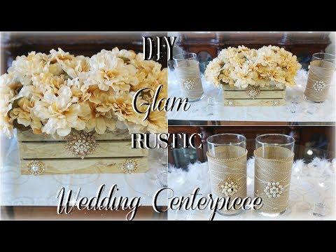 DIY RUSTIC GLAM WEDDING CENTERPIECE FT.  TOTTALY DAZZLED BLING GEMS DIY ELEGANT RUSTIC WEDDING DECOR