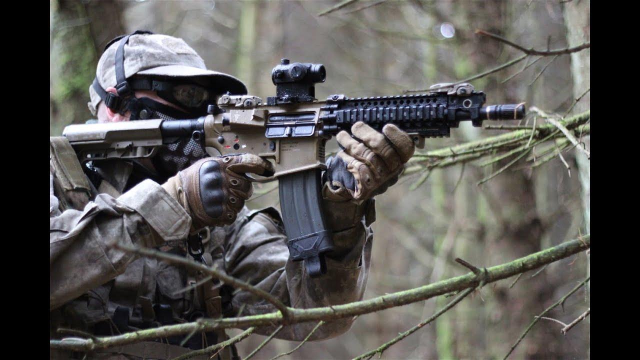 Airsoft War M4A1, M16, Action at Section8 HD   FunnyDog.TV M16
