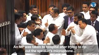 MPs in Sri Lanka fight in Parliament a day after voting for the removal of their Prime Minister