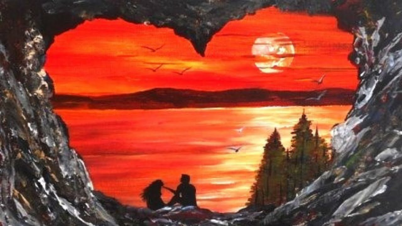 Romantic Acrylic Painting on Canvas for Beginners - YouTube