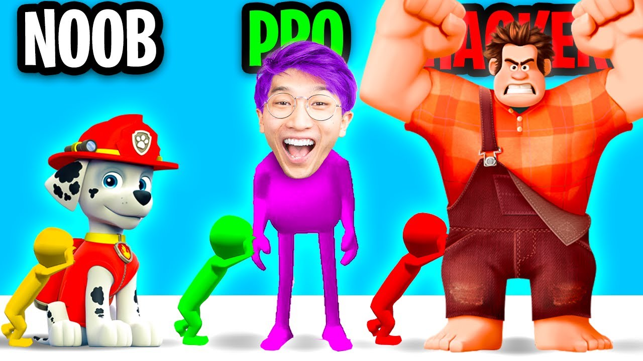 Can We Go NOOB vs PRO vs HACKER In PUSHER 3D GAME?! (WRECK IT RALPH GOES MAX LEVEL!!)