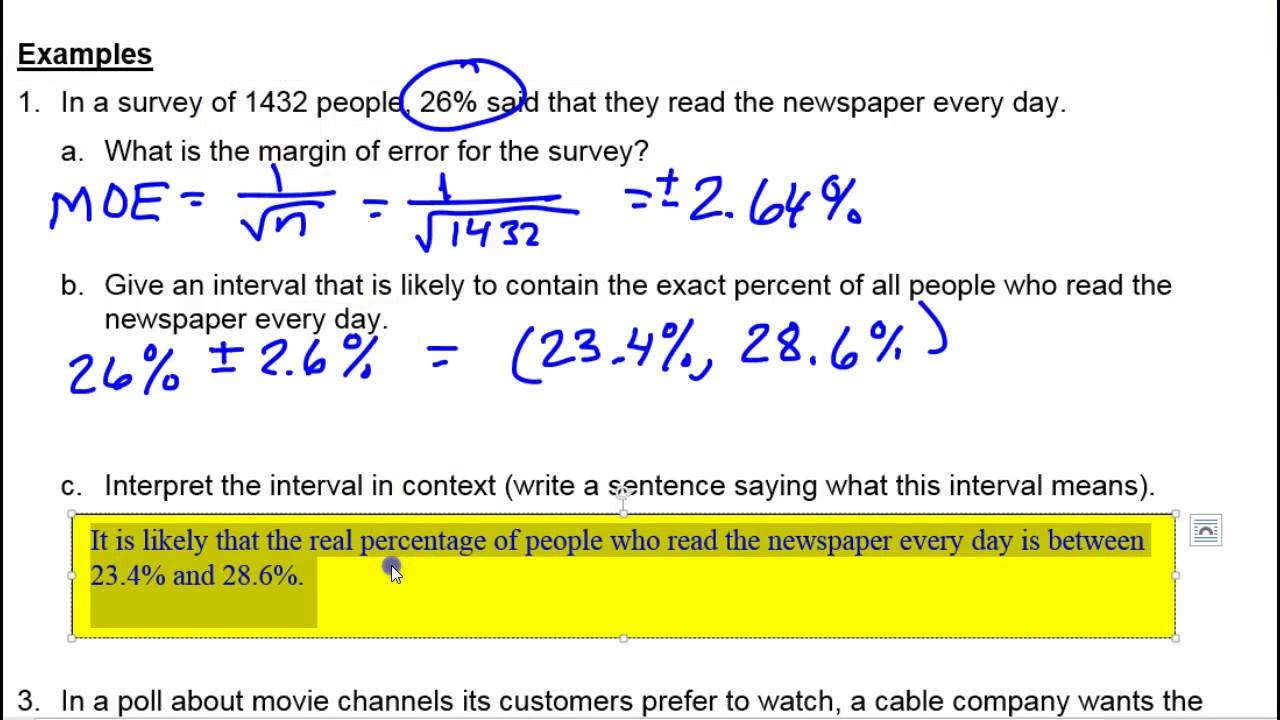 how to find margin or error