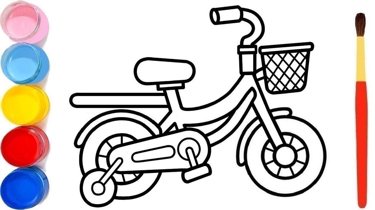 Menggambar Dan Mewarnai Sepeda Dengan Keranjang Untuk Anak