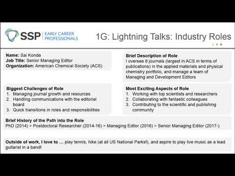 Lightning Talks: Profiles in Scholarly Publishing (continued) – SSP