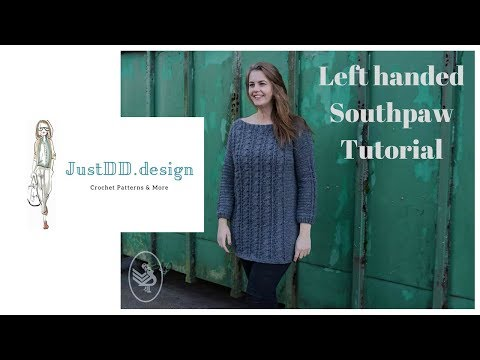 Crochet a Norwool Cable Sweater Part 1 ENGLISH SOUTHPAW LEFT HANDED
