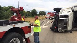 18 wheeler pulled upright by Art's Service and Towing