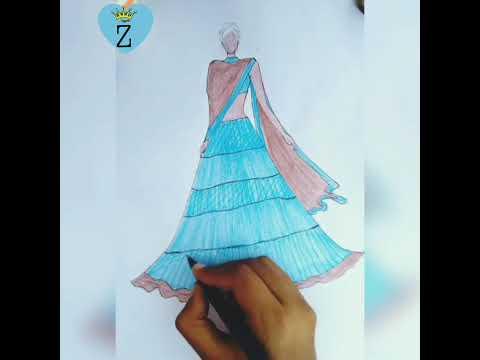Drawing Indian wear dress 👗👗 Blue lehenga choli .. fashion sketching tutorial