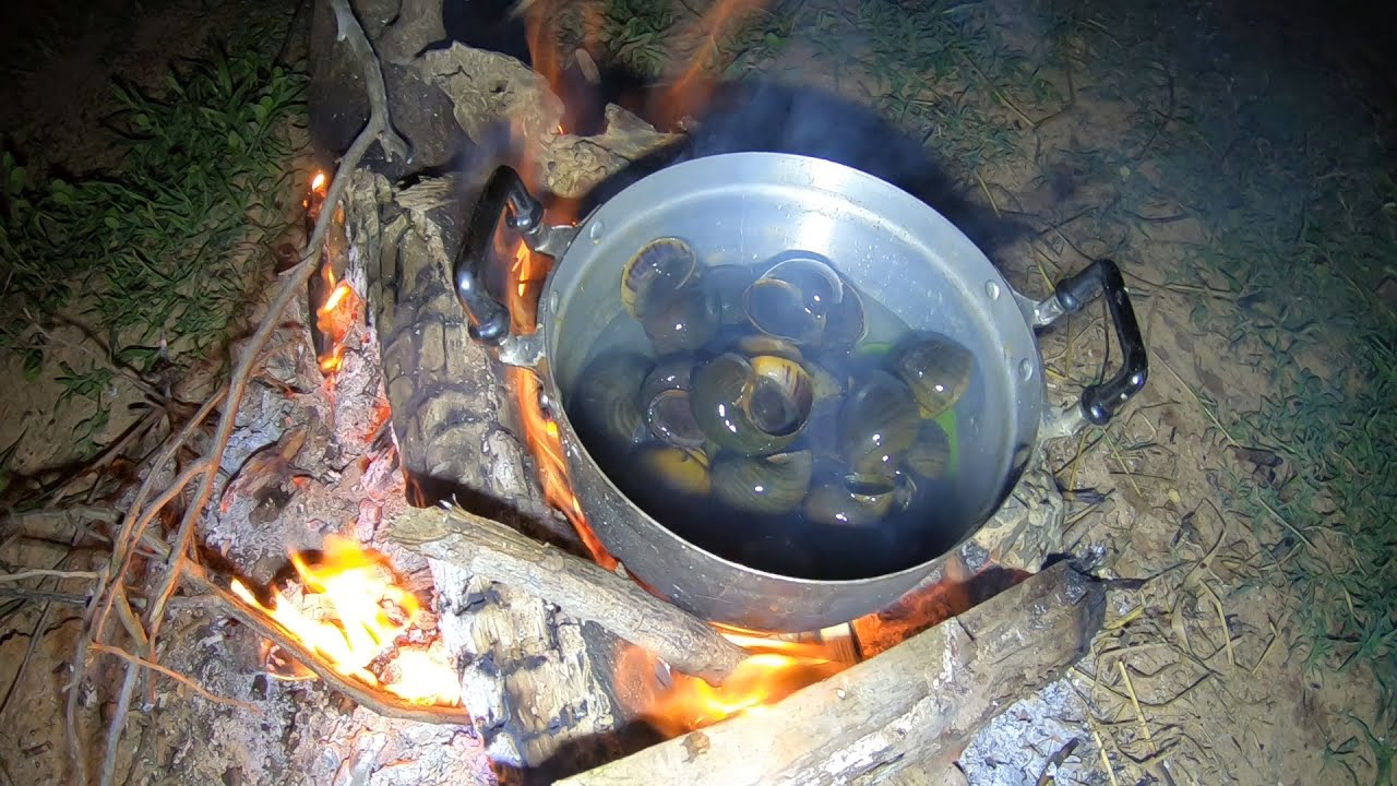 กินข้าวป่า ใส่เบ็ดเก็บหอยมาก้อยกินข้าวแลง ส้มตำคั้นหม้อแซ่บสไตล์ออดหลอด