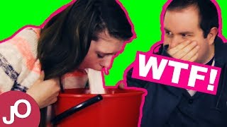 MILK CHALLENGE - BURP & PUKE EDITION #2 - She FAILS he WINS! Funniest/best milk challenge ever!