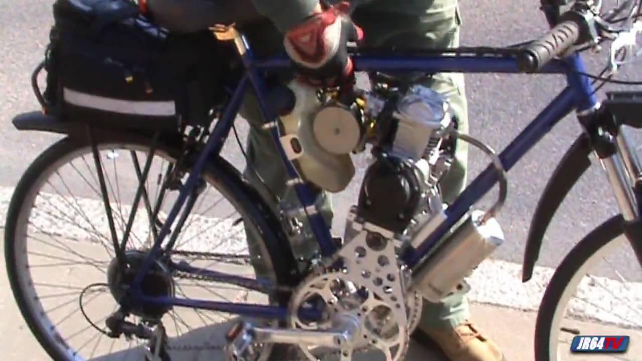 Steve Reichert's motorized 4 stroke bicycle --- HD