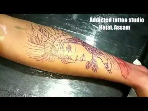 Native American Indian Girl Colour Tattoo Time Lapse Video