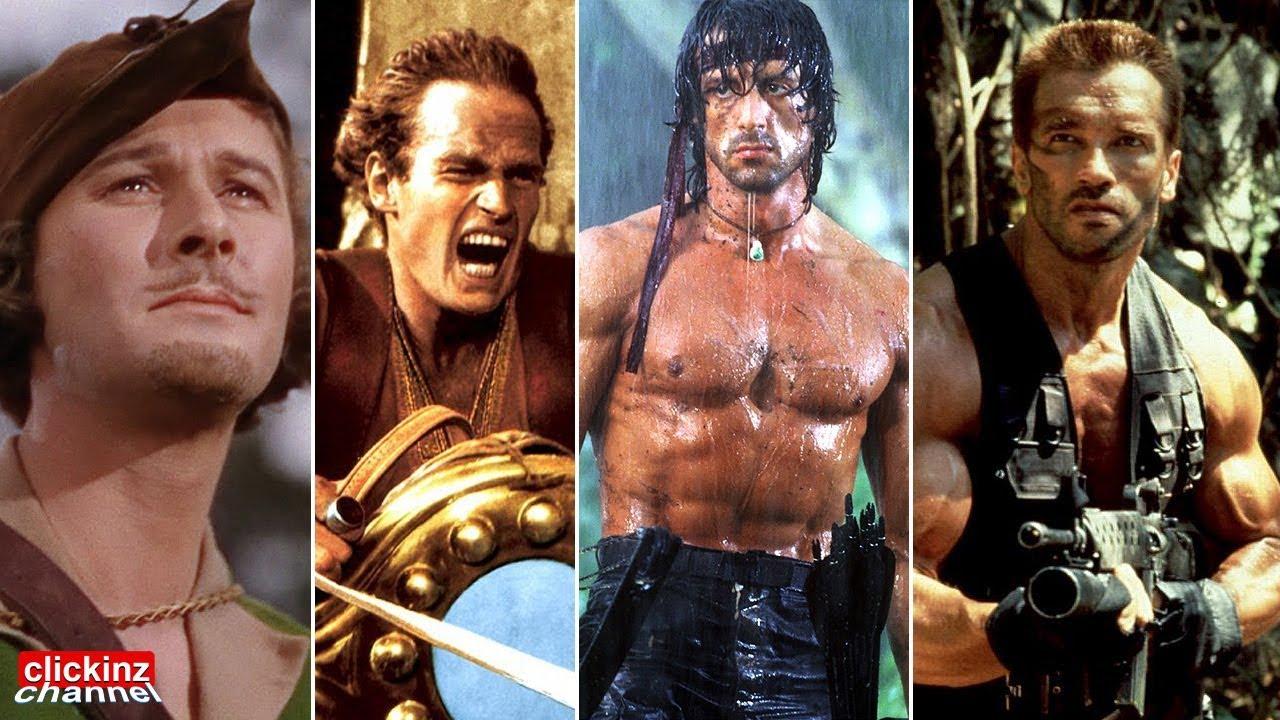 Top 20 action stars of all time: Errol Flynn Arnold Schwarzenegger Stallone  Bruce Willis Lee Gibson