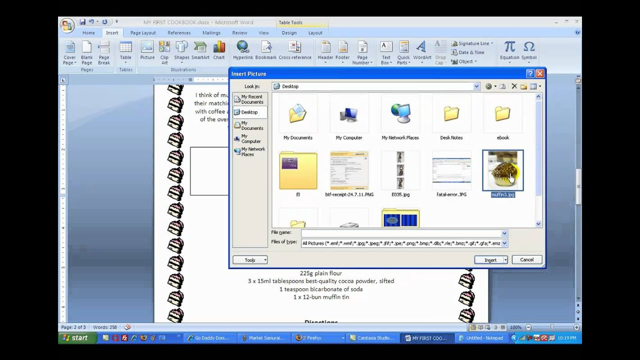 create a cookbook with microsoft word 2007 youtube