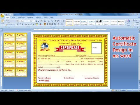 Automatic Certificate Design Using Ms Word 2019 | How To Make Certificate Design In Ms Word
