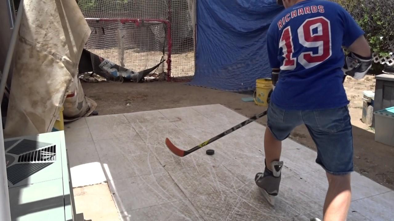 Skating On Hotshot Hockey Floor Tiles And Shooting Youtube