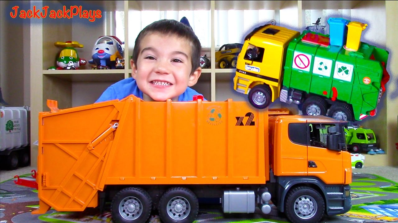 bruder garbage truck surprise toy videos for children unboxing compilation youtube. Black Bedroom Furniture Sets. Home Design Ideas