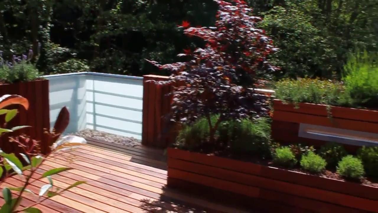Jardin De Diseño Con Madera De Ipe En Terraza