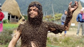 Nepal Man Covers Himself In Bees