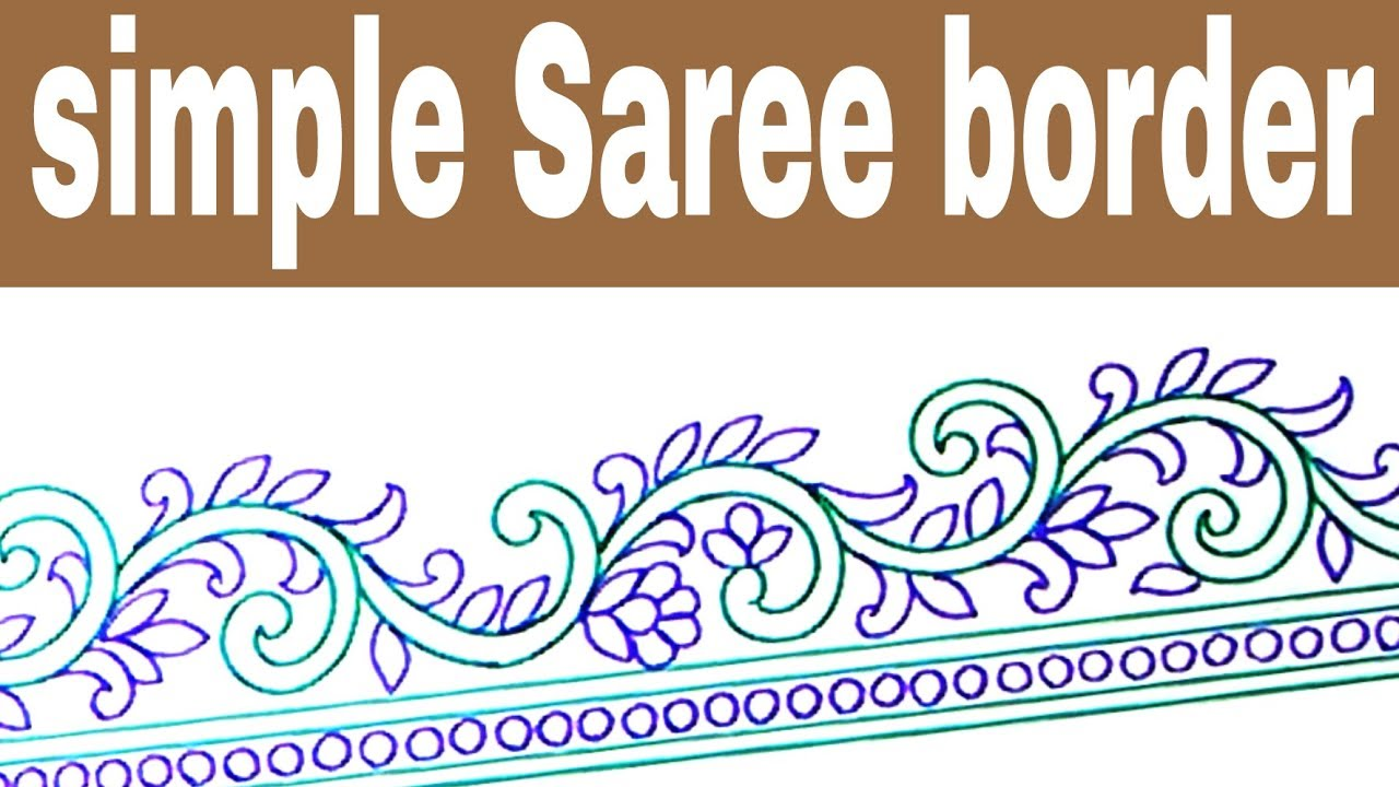How To Draw Embroidery Designs Saree Border Design Drawing Youtube