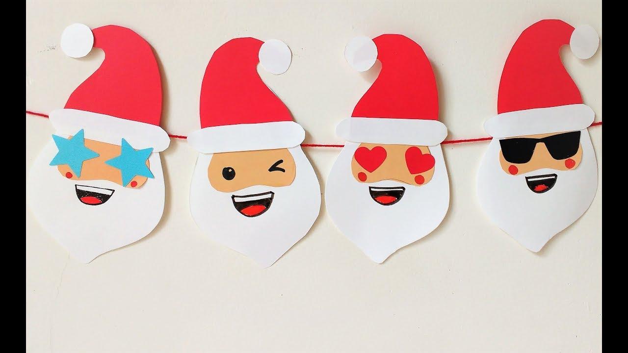 Diy Christmas Decoration Santa Emoji Bunting Youtube