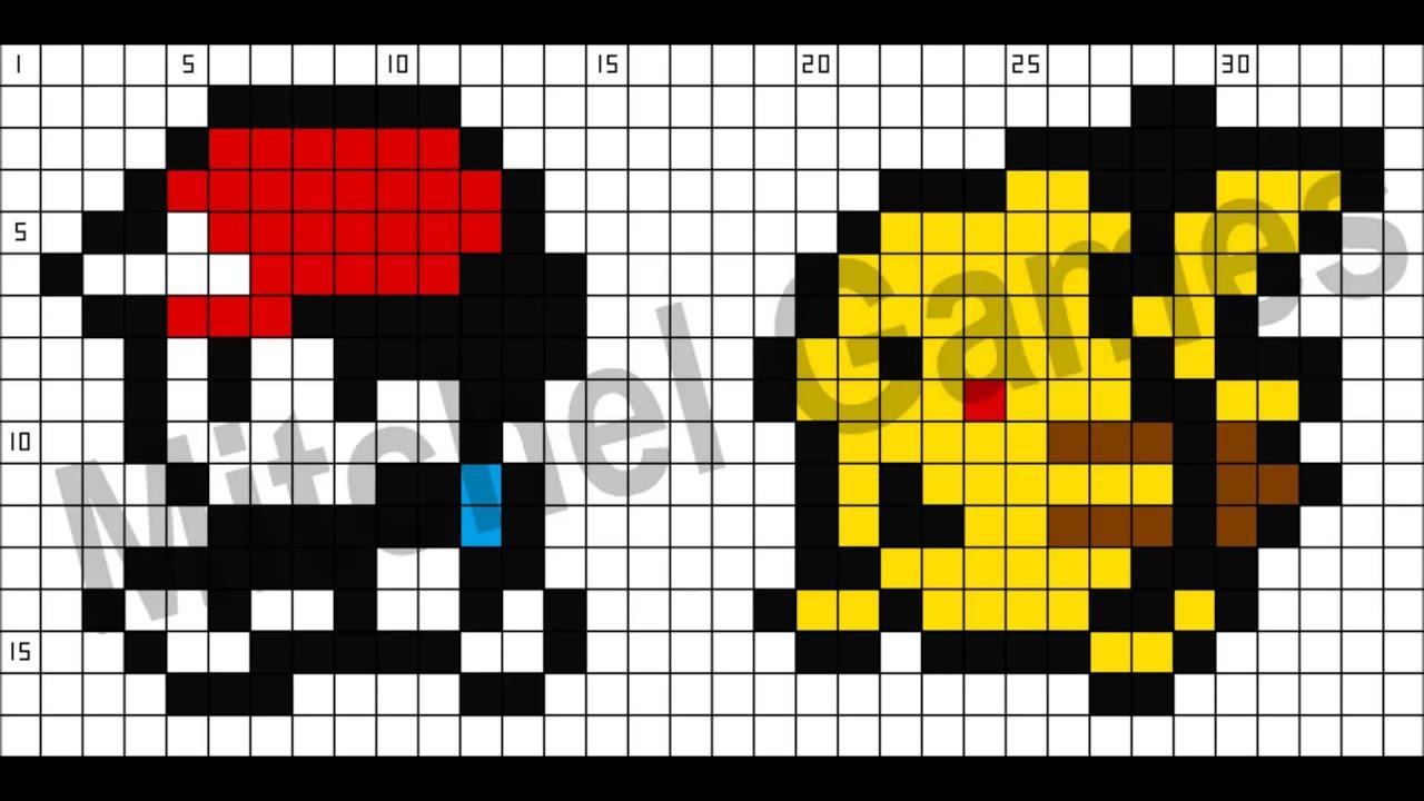 Exceptionnel Minecraft - Pokémon - Ash & Pikachu (34x17 Pixel) (Template) - YouTube LV59