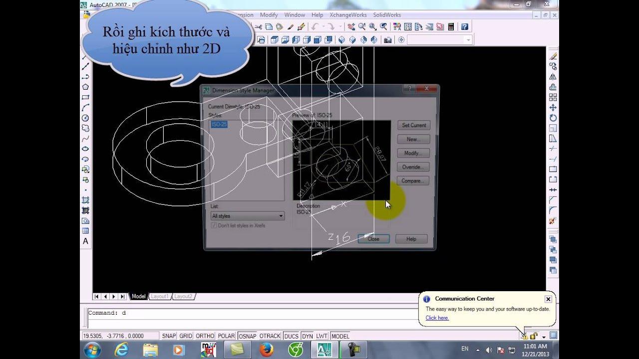 Autocad 2007: Vẽ và ghi kích thước 3D